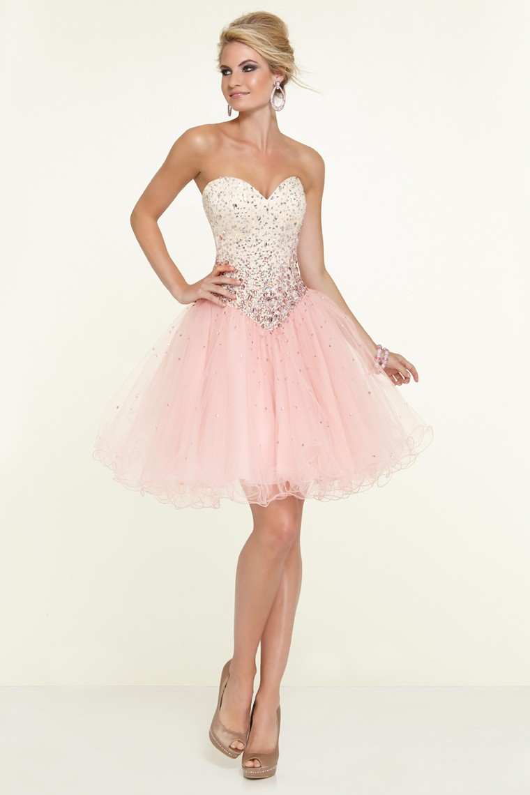 Sweetheart Light Pink And Blue Cocktail Dress Knee Length Puffy ...