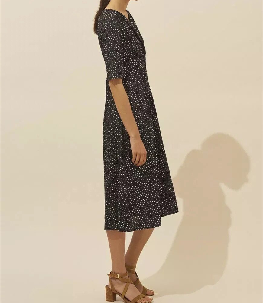 2019 New Women Single breasted Long Dress Short Sleeve V Neck Print Elegant Midi Dress