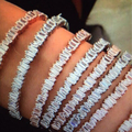 brand new Fashion AAA cubic zirconia Baguette bracelet thin bangle cuff copper base with gold plated