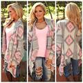 Hot Sale Kimono Cardigan Stylish Women Geometric Printed Long Sleeve Cotton Coat Fashion Knitted Poncho Tops Casual Blouse