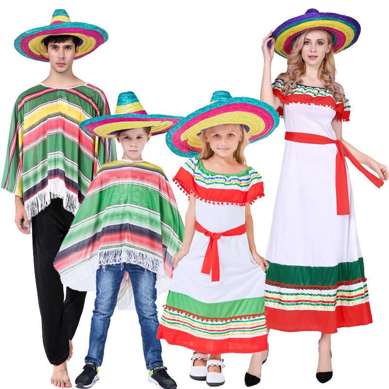 4bc532886a Halloween Adults Kids children stripe Mexico costume dress Cape ...