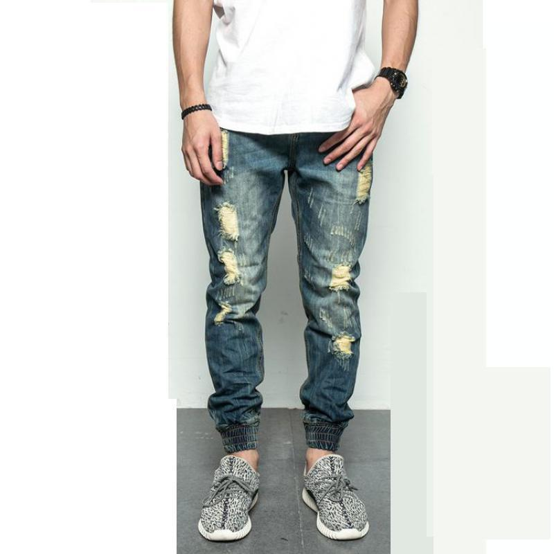 H.A. Sueno new men stretch casual straight leg denim jeans male regular fit cotton trousers pants Ripped Jeans For Men