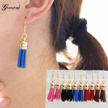 5 Colour Bohemian Ethnic Style PU Leather Tassel Drop Earrings For Women Fashion Jewelry Vintage Bijoux Brincos Dangle Earing(China)