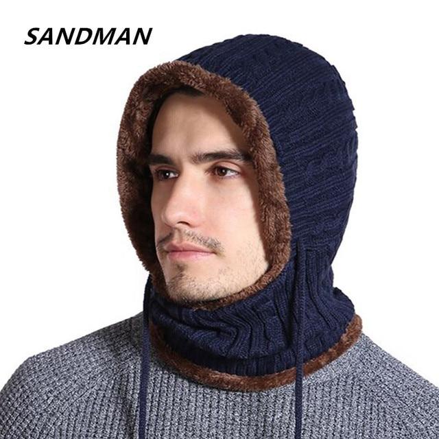 89cbde00140 SANDMAN Cotton Add Fur Winter Hat Mask Knitted Beanie Men Scarf Skullies  Beanies Winter Hats For