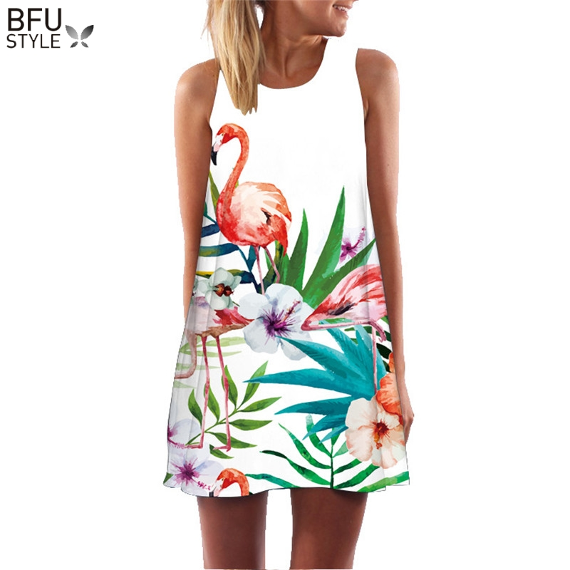 Summer Dress Floral Print Boho Dresses For Women Casual Beach Sundress Sleeveless Flamingo Chiffon Dress