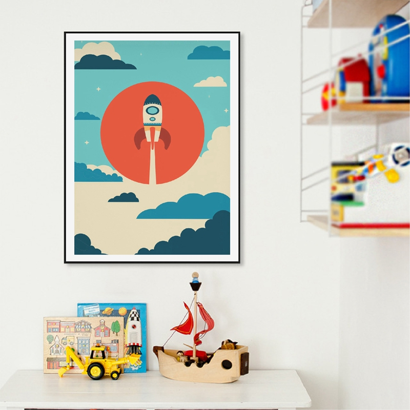 Space Print Kids Room Decor