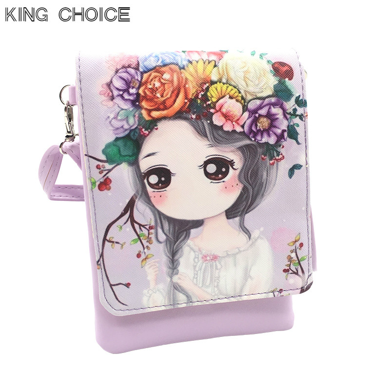 New Woman Cute Cartoon Printed Flap Women Shoulder Bags Female Purse and Handbags Girls Children Mini Crossbody Bag Female bag new woman shoulder bags cute canvas women big bags literature and art cartoon girls small fresh bags casual tote