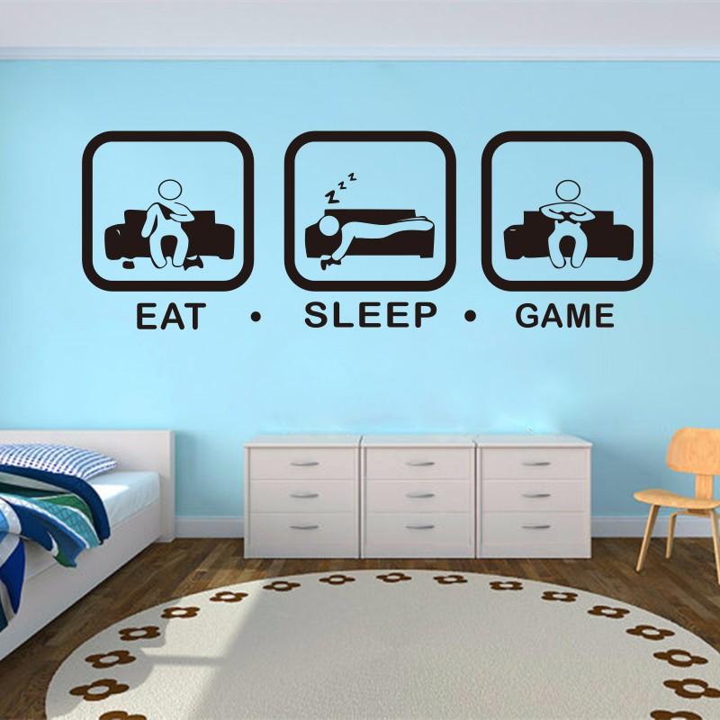 poomoo decals eat sleep game wall decal gaming joystick playing