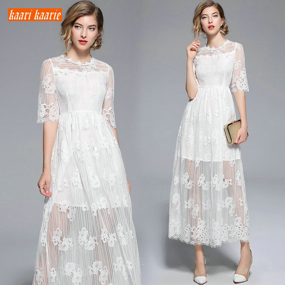Elegant BOHO Ivory Long   Prom     Dresses   2019 Evening Gowns O-Neck Lace Zipper A-Line Ankle Length Bohemian rural Casual party   Dress