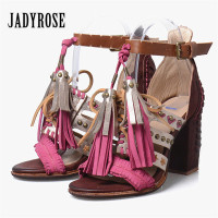 Jady Rose Handmade Tassels Women Sandals Summer Chunky High Heels Rivets Studded Gladiator Sandal Fashion Fringed
