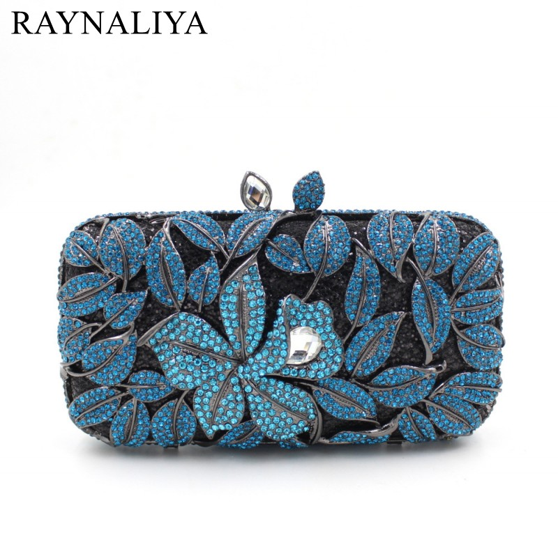High Quality Women Rhinestone Floral Crystal Clutch Purse For Wedding Days Blue Bridal Handbags Evening Bags SMYZH-E0283