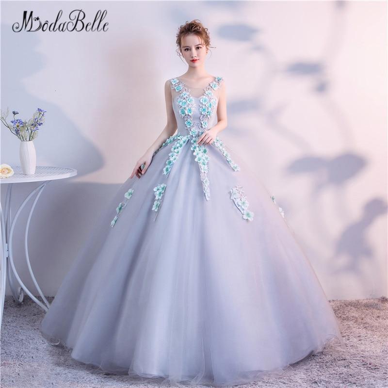 Modabelle princesse broderie fleur robe de bal bleu clair femmes élégant 3D tiffany couleur fleurs soirée robe de bal fée 2018