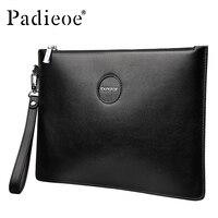 Padieoe Men's Genuine Leather Long Wallet Male Clutch Business Bag Men's Money Wallet Purse Leather Zipper Money Wallet Black
