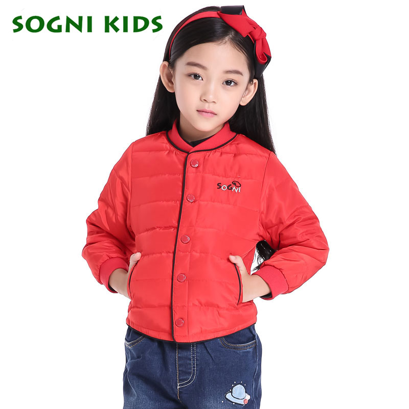 Girls Winter White Duck Down Jacket Light warm outerwear Red Pink Single breasted Stand Collar for