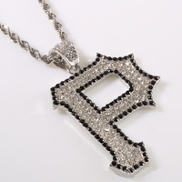 Bling iced out ketting geel \ wit Strass letter P hanger ketting gedraaide ketting hip hop sieraden