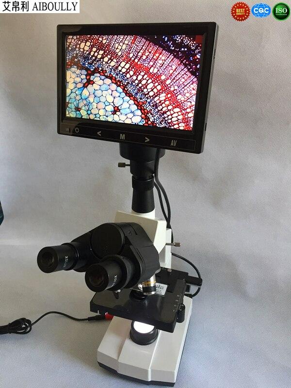 AIBOULLY HD Microscope biologique vidéo analyse des cellules sanguines animales et végétales examen de la santé humaine avec écran de 7 pouces 1000X