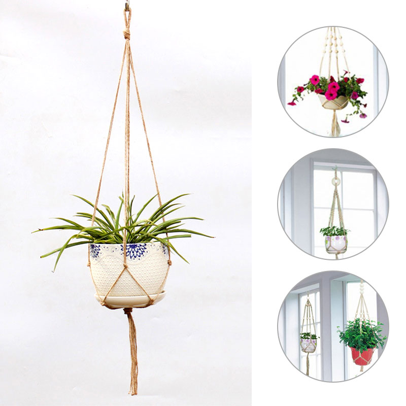 Hanging Baskets Purposeful Hemp Rope Braided Hanger Pot Flower Pots Hanging Rope Basket Green Plant Planter Handcrafted Diy New Green Plant Hangied Unequal In Performance