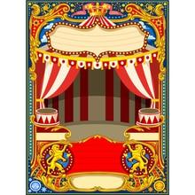 Circus Stage Photo Booth Fundo personalizado Impresso Estrelas Dots Branco Vermelho Listrado Cortinas Fundo Do Bebê Crianças Festa de Aniversário