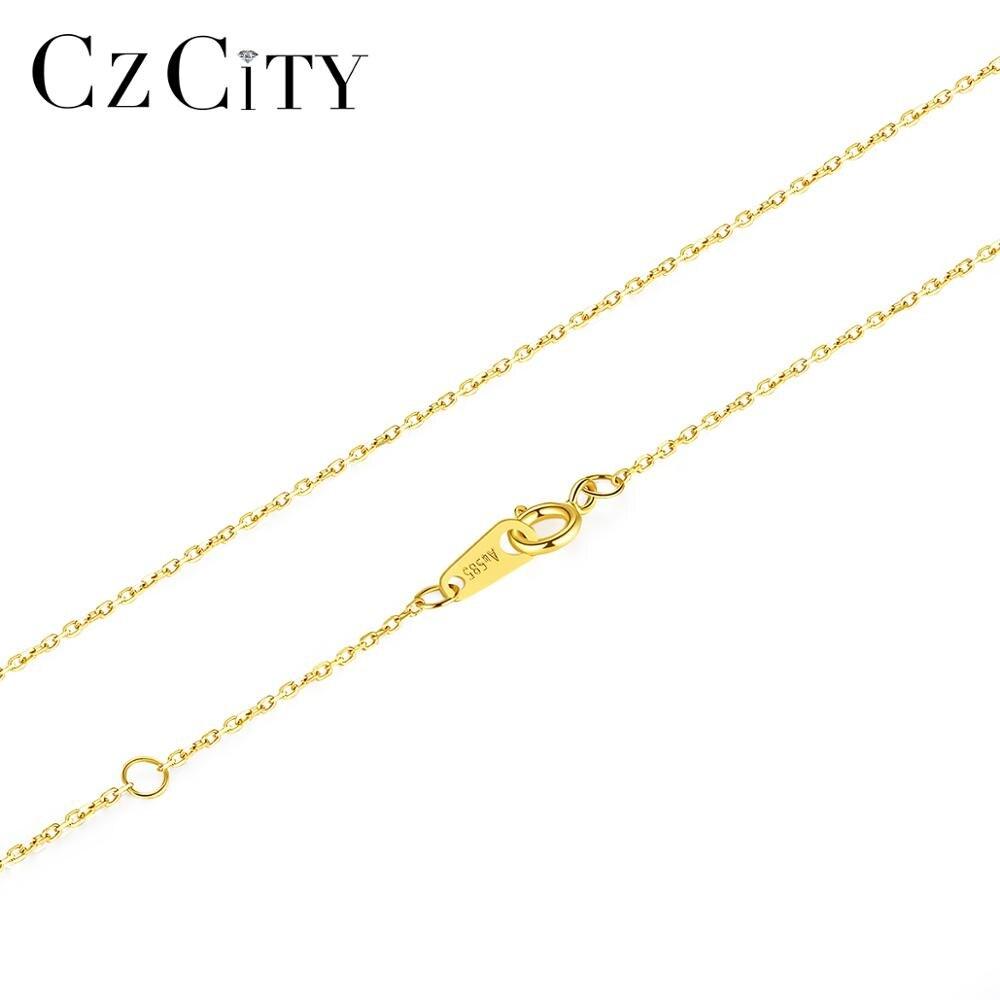 CZCITY classique solide pur 14k or nu lien chaîne colliers pour femmes or jaune accessoires bijoux fins cadeau Au 585 N14139
