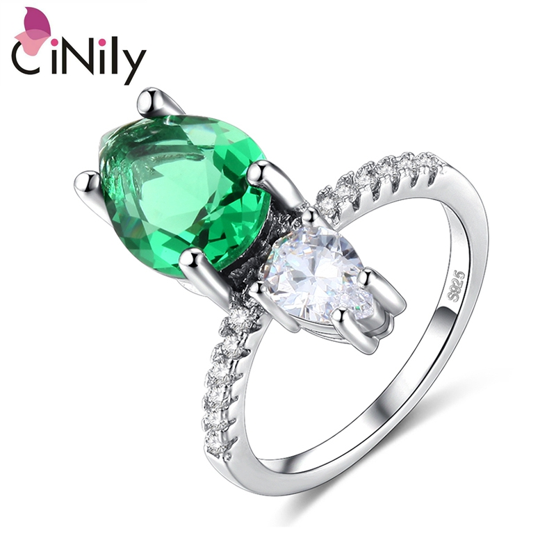 Cinily Jewelry Stone Ring-Size Wedding-Engagement Silver-Plated White Green Women Zirconia