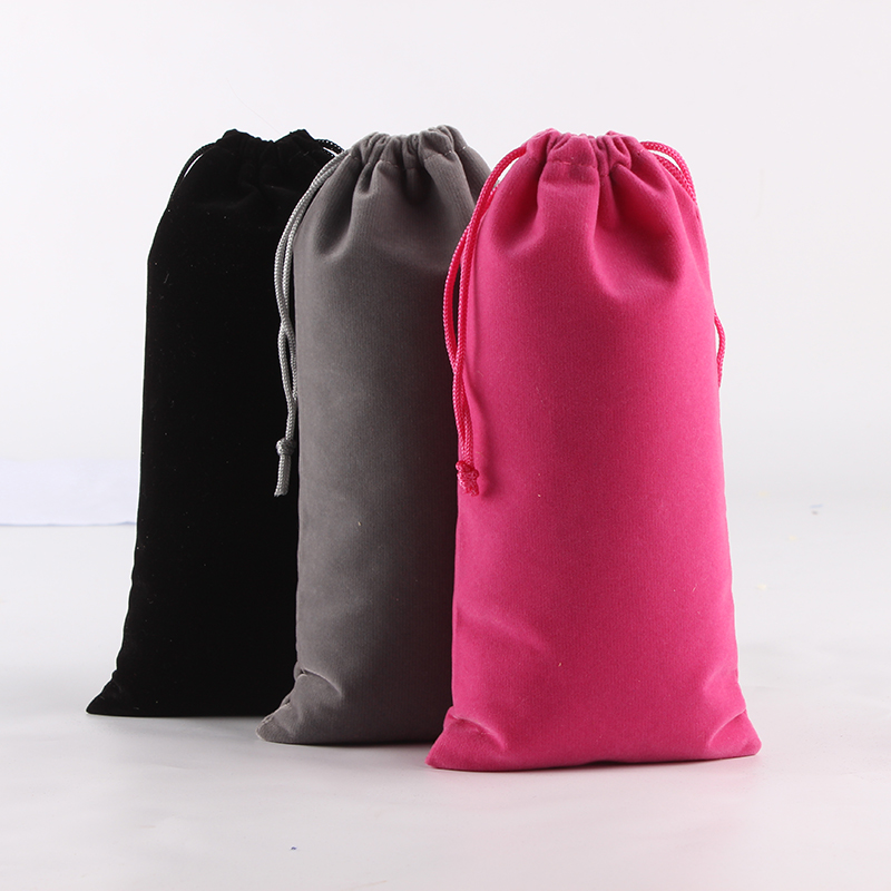 100pcs/lot 10*20cm High Quality Customized Logo Printed Velvet Drawstring Pouch Packing Gift  Makeup Jewelry Pouch