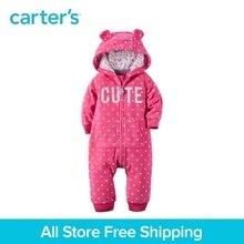 1pcs cute 3D animal ears Hooded polka dots Fleece Jumpsuit Carter's baby girl fall winter clothing 118H712