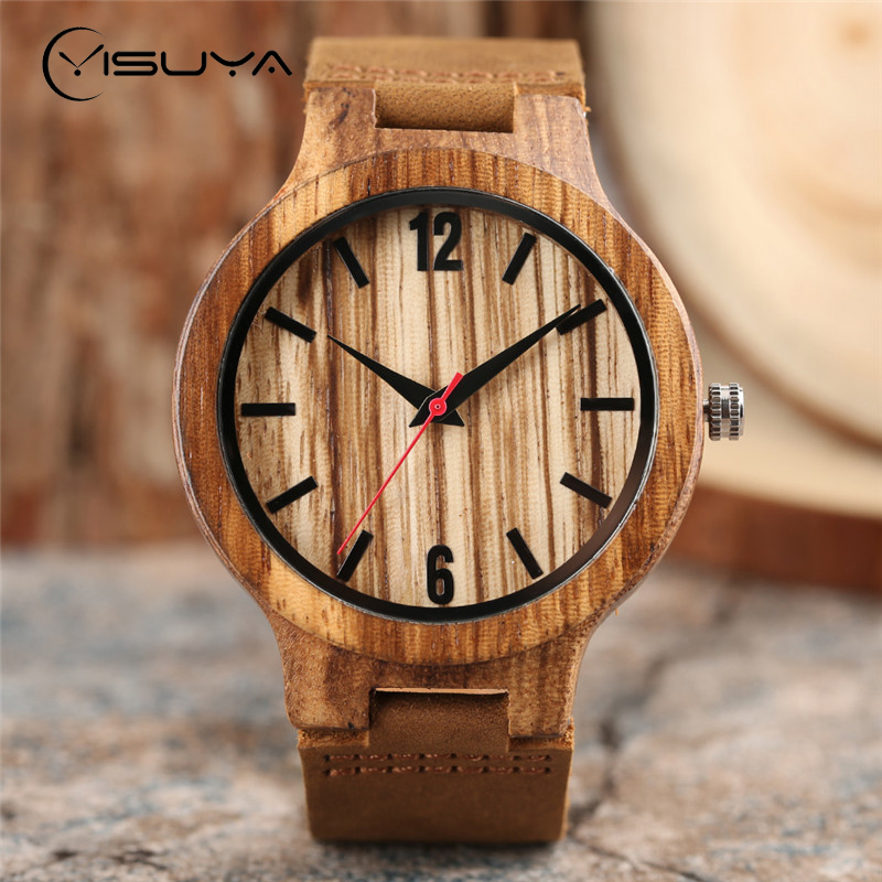 YISUYA Luxury Mens Handmade Nature Bamboo Wooden Watches Leather Quartz Zebrawood Wood Red Pointer Casual Sport Wristwatch Clock yisuya luxury wooden watches for men vintage analog quartz handmade walnut zebra bamboo wood band wristwatch clock gifts reloj