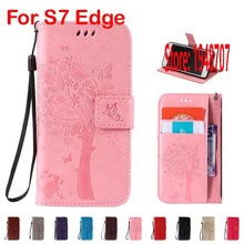 Butterfly Cat Tree Flower PU Leather Leathe Flip Wallet Walet Wallt Lady Case etui Cover Cove For Samsung Galaxy Glaxy S7 Edge