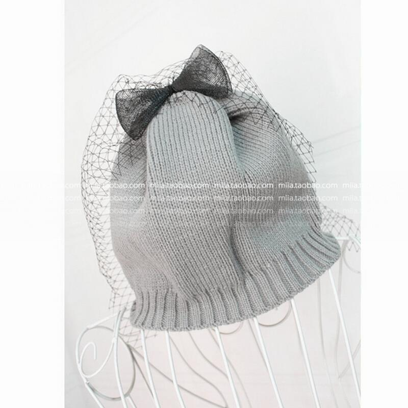 VORON 2017 NEW High quality Winter hat female Bow knitted hat women's veil hat with bow beanies skullies winter hats for women