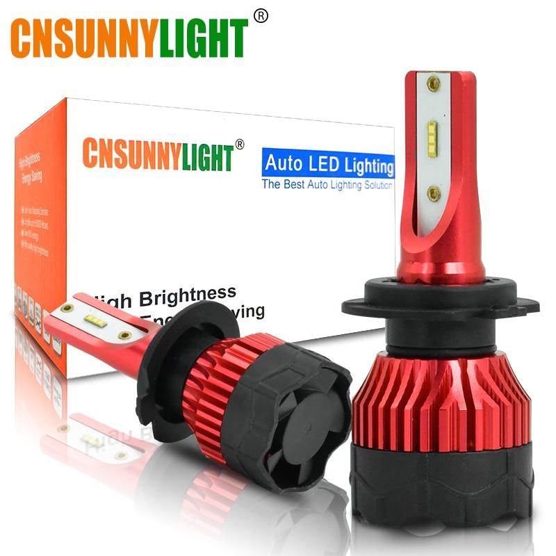 CNSUNNYLIGHT 2PCS K5 6500K LED H7 H4 H1 H11 9005 Auto Car Headlight Bulbs 8000Lm 48W/Pair Customized ZES chips Automotive Lamps