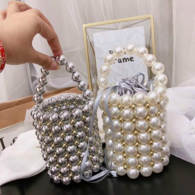 Fashion Pearl Beaded Womens Handbags Luxury Handmade Beaded Crossbody Bags for Women Party Elegant Evening Bags Ladies Purses