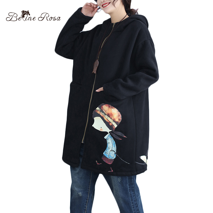 88464b6ab07 BelineRosa 2018 Winter Women s Oversize Coats Korean Style Black ...