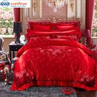 Svetanya Geborduurde zijde jacquard Bruiloft Kingsize Beddengoed Sets katoen Nobele Mooie Bloemen Rode Bedlinens