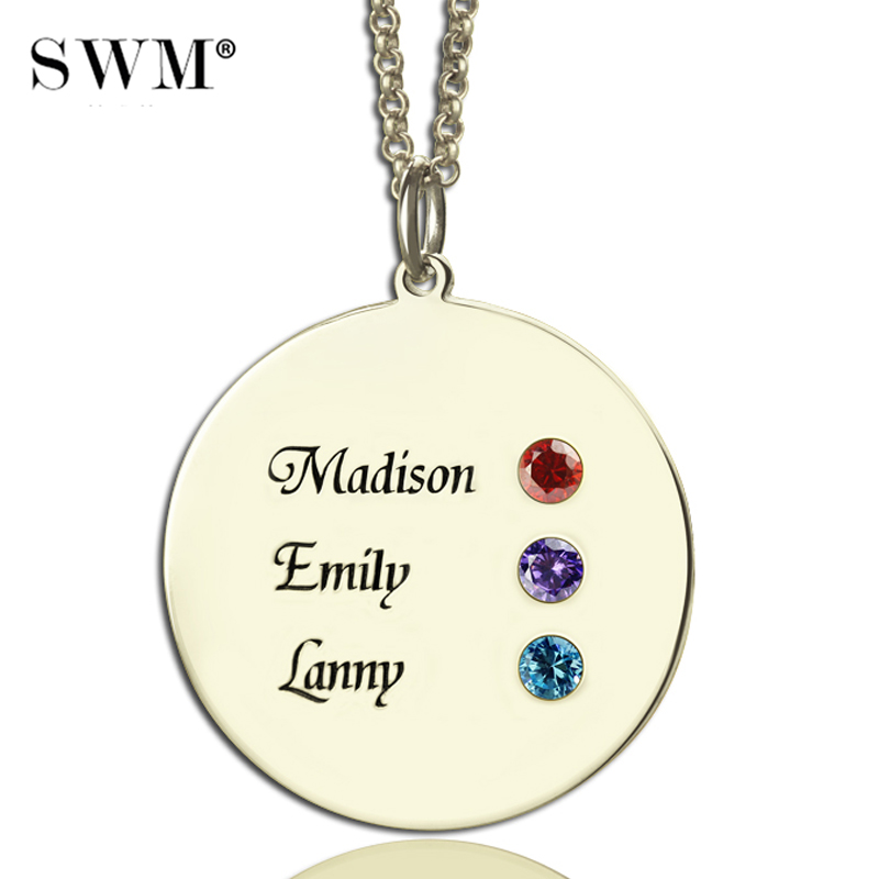 Sterling Silver 925 Necklace Custom Name BirthStone Necklaces Disc Pendant Chain Sieraden Jewelry For Mom Grandma Colar Feminino