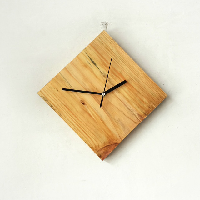 Natural Wooden Kitchen Wall Clock Needle Quartz Clocks Creative Stickers Watch Mute Design Home