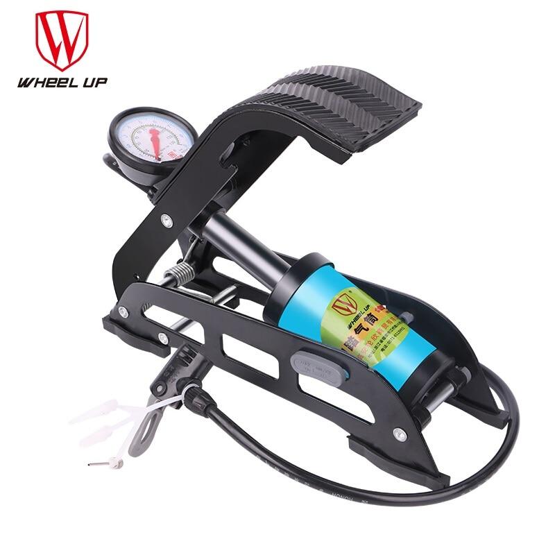WHEEL UP MTB High Pressure Pump Foot Air Pump Folding Portable Electric Motorcycle Bicycle Pump 130 PSI Single Tube Inflator