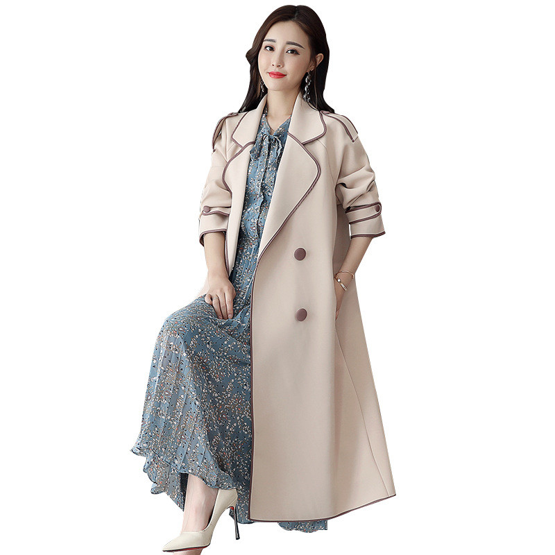 2019 fashion Women's Spring Autumn   Trench   Coats Casual Long Sleeve Double-breasted Belt Overcoats x879