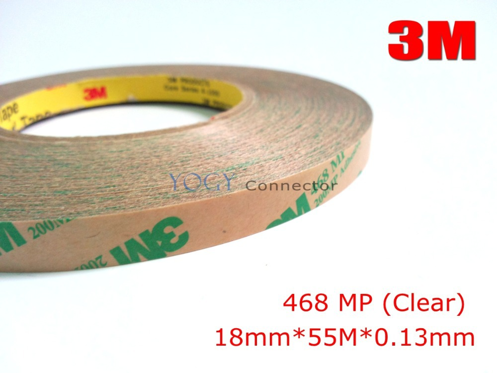3M, 18mm*55M*0.13mm 3M 468MP 200MP Transparent Double Sided Adhesive Transfer Strip for Metal Nameplates, Automotive Foam Gasket 3m 468mp 43mm 55m 0 13mm double sided adhesive tape 200mp metals paints wood bonding together for automotive appliance