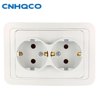 CNHQCO 16A 250V Wall Power Socket Kitchen Plug Sockets Double Wall Outlet Panel EU German Standard