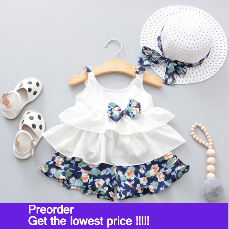 2018 Summer Newborn Baby Girl Clothes Strap Bow Vest + Floral Shorts + Fashion Hat 3Pcs Set Baby Clothing Suit For Girls Clothes цена 2017