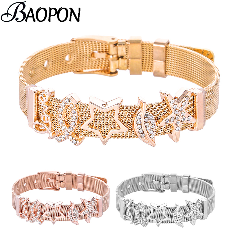 BAOPON Personalized Bangle Women's Slide Mesh Charm Bracelet Fits Stainless Steel Fine Bracelets Bangles Bileklik Pulseira