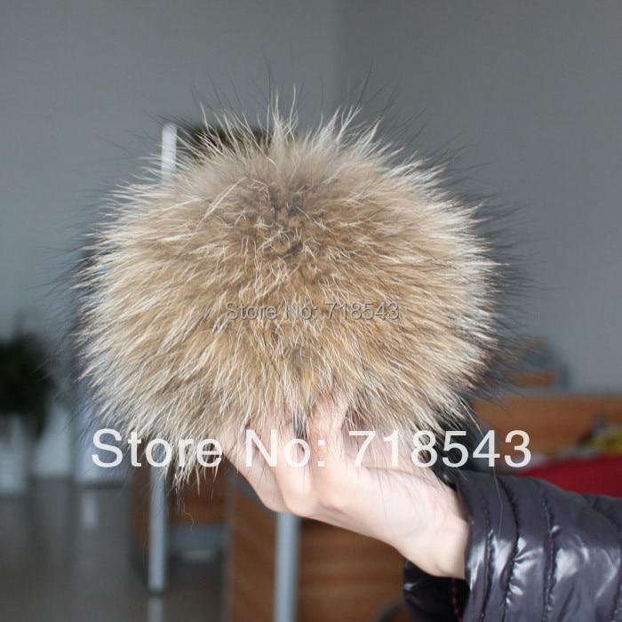 Raccoon fur pom poms 14cm ke 15cm rantai kunci utama bulu sebenar dalam topi musim sejuk untuk wanita & kintted topi & topi bulu & aksesori kanak-kanak