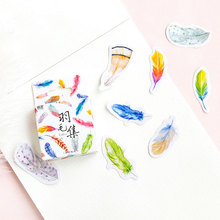 45 pcs/box cute Colorful feathers mini paper sticker DIY decoration sticker Scrapbooking Label Seal Sticker kawaii Stationery 46 pcs box cute mini vintage travel sticker scrapbooking diy paper pack seal label diary bullet journal kawaii stationery 1t807