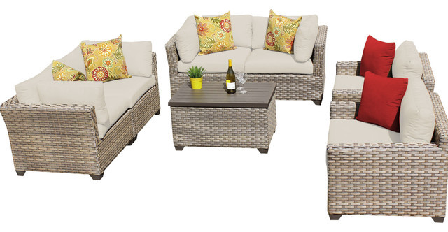 2017 Comfortable Living Room 7 Piece Outdoor Wicker Patio Furniture Sofa,  Beige,