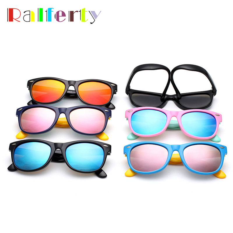 Ralferty Kids TAC Mirrored Polarized Sunglasses Child Outdoor Safety Glasses Boys Girl Flexible Rubber Oculos Infantil 802