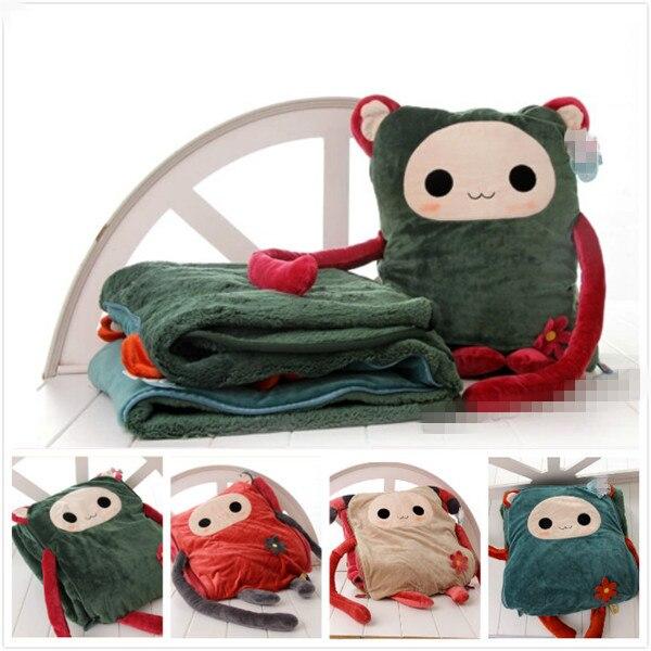 Livraison gratuite 5 couleurs chaud en peluche oreiller coussin + air-condition 2 en 1 polaire couverture en peluche jouets oreiller blottir couverture cadeaux