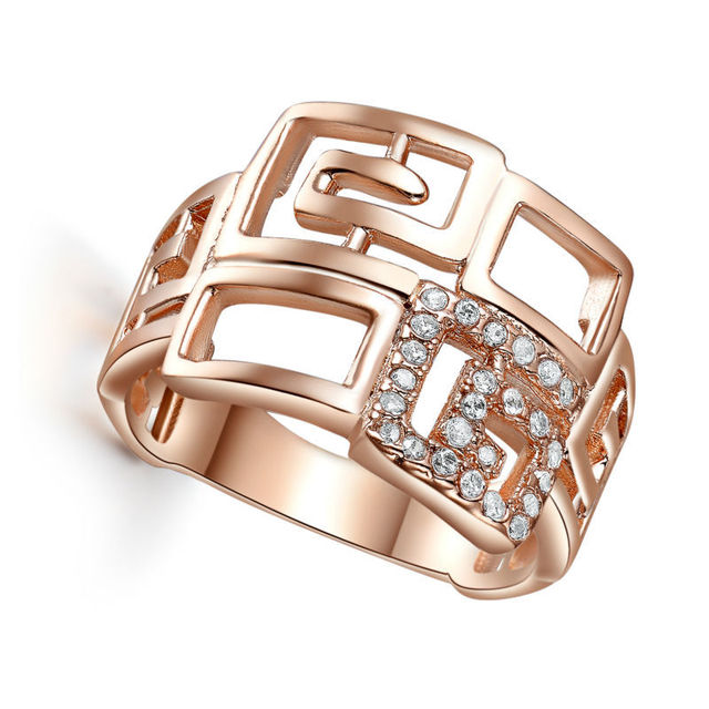 Fashion Rings For Women  Jewelry Fine Rose Gold Plated Wedding Engagement love Female Ring Bijoux Luxury design L264