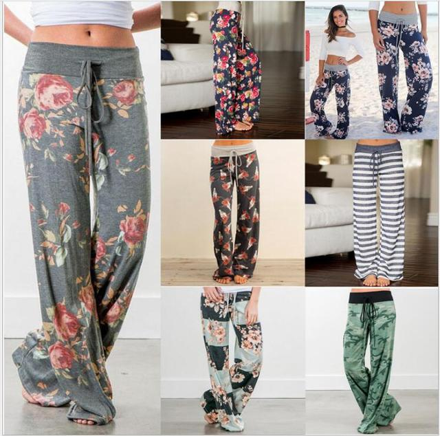 752e8b023ed Causal Women Autumn Flower Print Pants 2018 Drawstring Wide Leg Pants Loose  Straight Trousers Long Female Plus Size Trousers