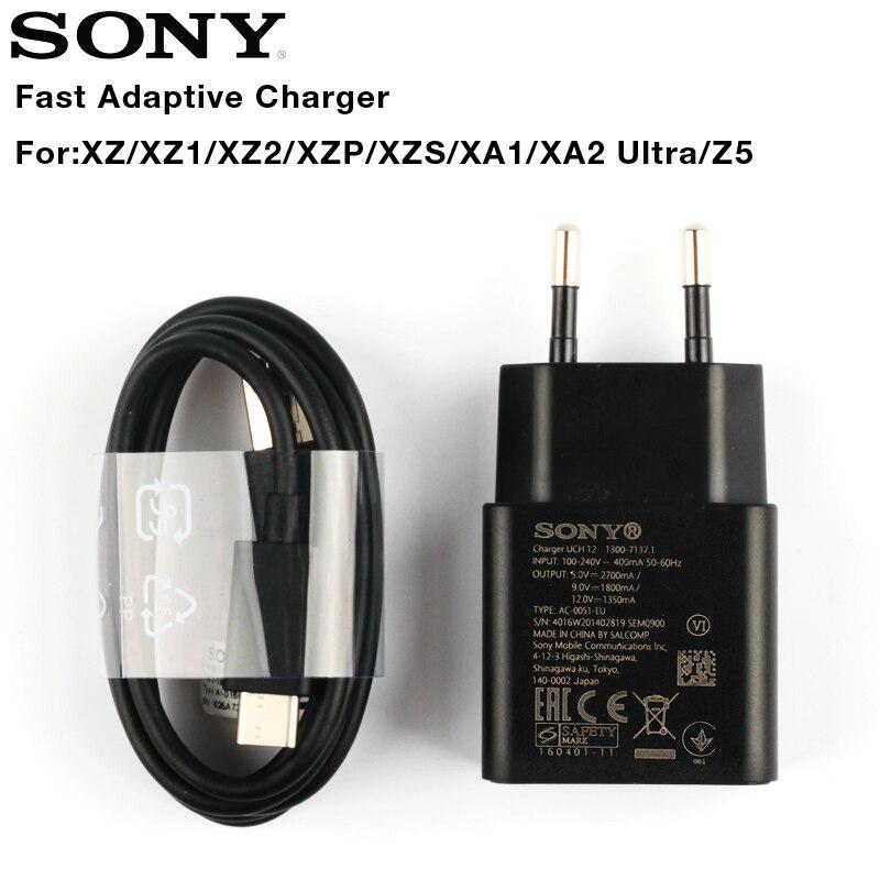 Оригинальное Адаптивное быстрое зарядное устройство для Sony Xperia L1 G3312 XA1 Plus XA1 Ultra G3116 XA2 Ultra X Compact XZs XZ2 Type-C кабель
