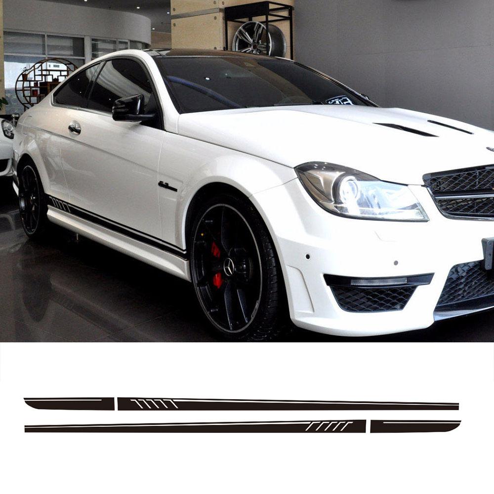 Autocollants en vinyle à rayures de course   Jupe latérale de Style 507, pour Mercedes Benz W204 S204 coupé C63 AMG C180 C200 C230 C280 C300 C320